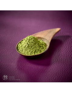 Matcha with cherry leaf